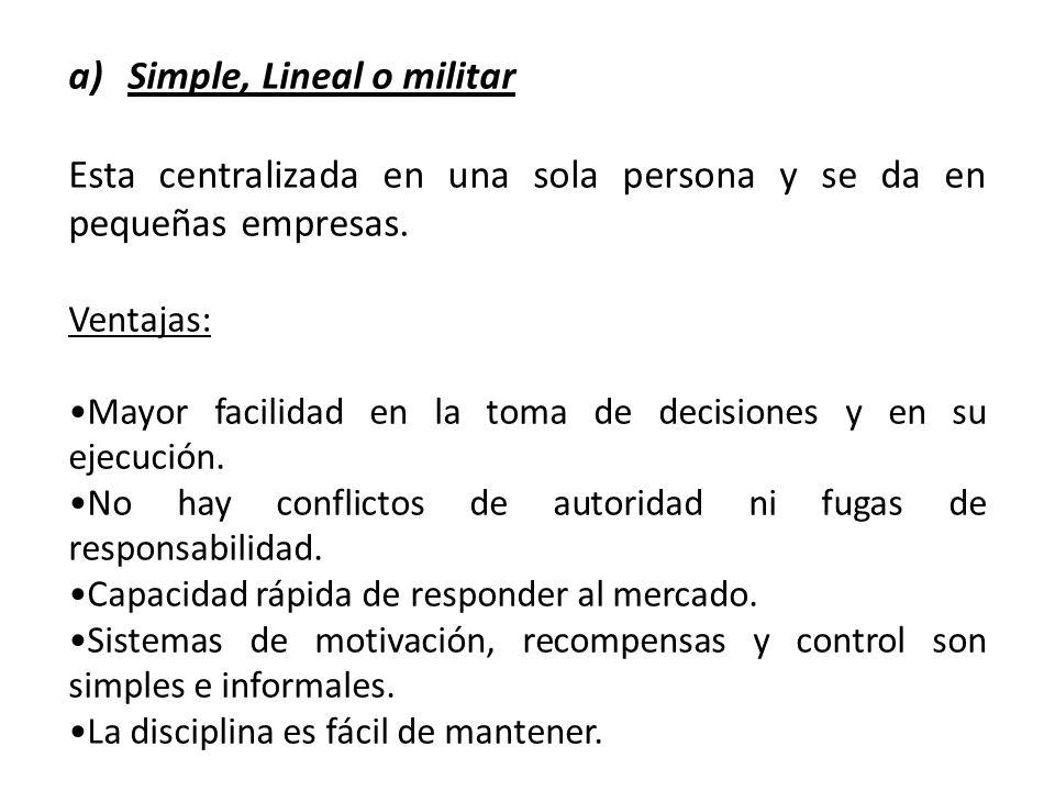 a)Simple, Lineal o militar Esta centralizada en una sola persona y se da en pequeñas empresas. Ventajas: Mayor facilidad en la toma de decisiones y en