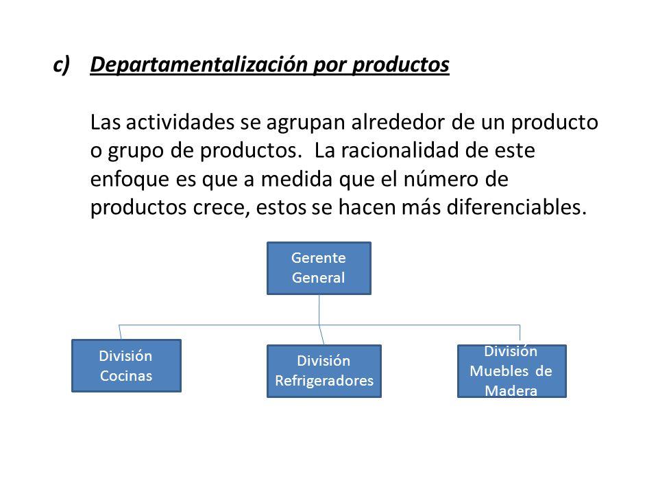 c)Departamentalización por productos Las actividades se agrupan alrededor de un producto o grupo de productos. La racionalidad de este enfoque es que