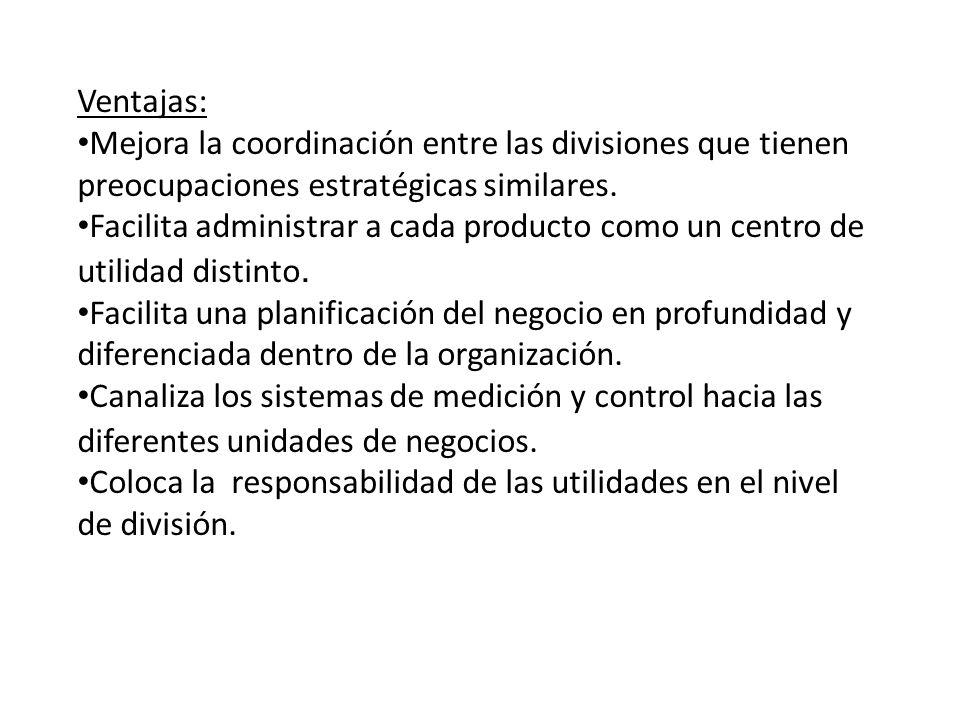Ventajas: Mejora la coordinación entre las divisiones que tienen preocupaciones estratégicas similares. Facilita administrar a cada producto como un c