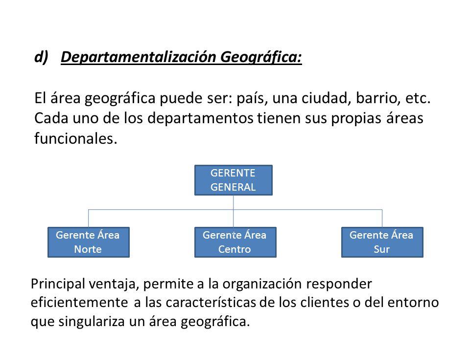 d)Departamentalización Geográfica: El área geográfica puede ser: país, una ciudad, barrio, etc. Cada uno de los departamentos tienen sus propias áreas