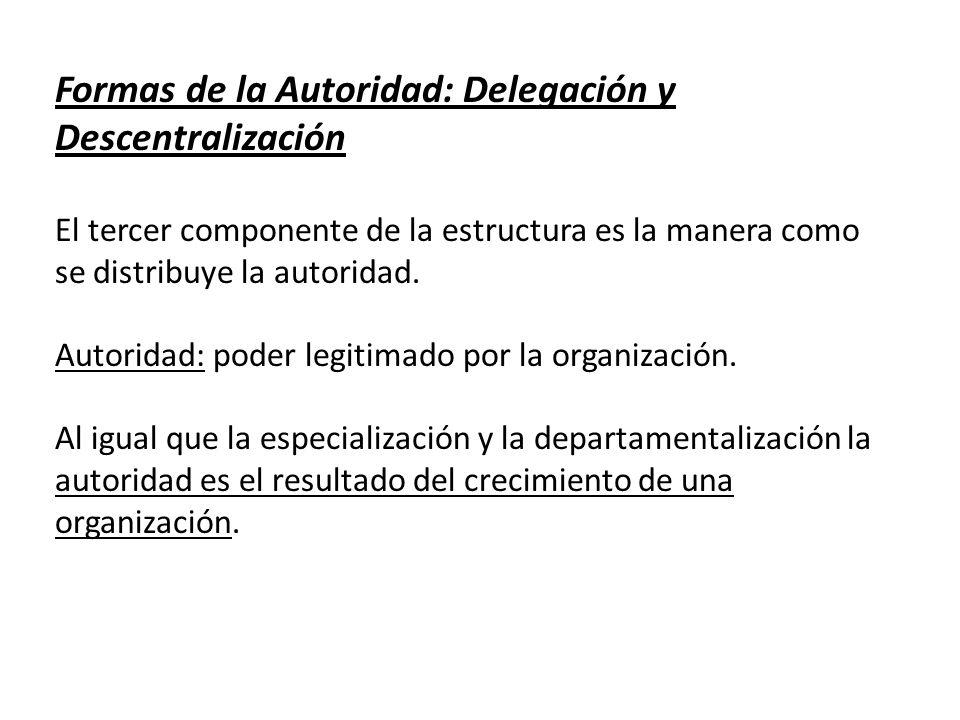 Formas de la Autoridad: Delegación y Descentralización El tercer componente de la estructura es la manera como se distribuye la autoridad. Autoridad:
