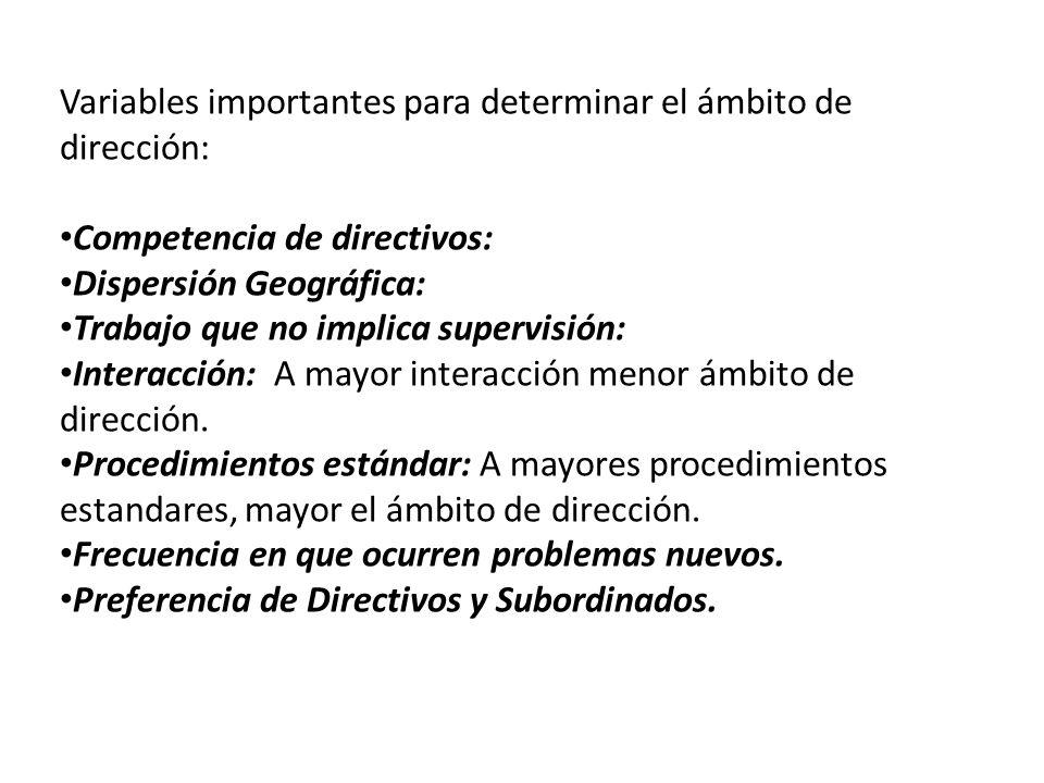 Variables importantes para determinar el ámbito de dirección: Competencia de directivos: Dispersión Geográfica: Trabajo que no implica supervisión: In