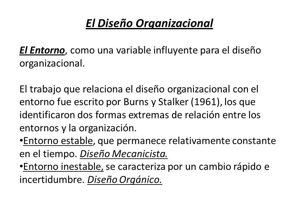 El Diseño Organizacional El Entorno, como una variable influyente para el diseño organizacional. El trabajo que relaciona el diseño organizacional con