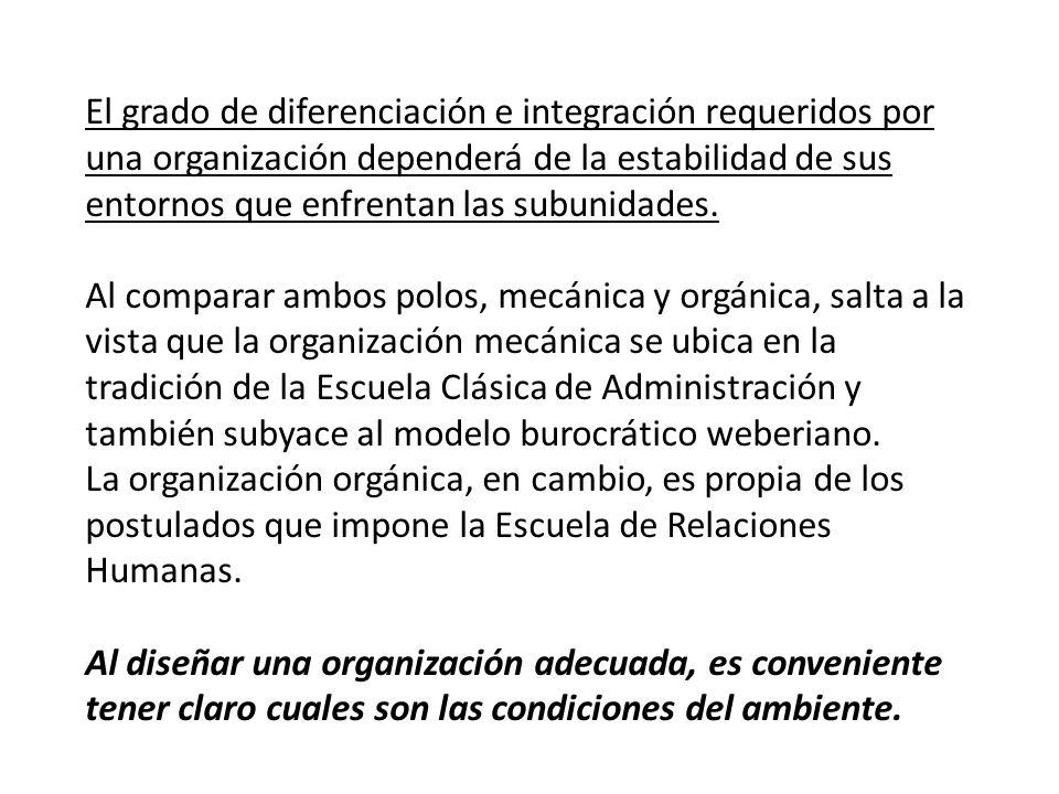 El grado de diferenciación e integración requeridos por una organización dependerá de la estabilidad de sus entornos que enfrentan las subunidades. Al