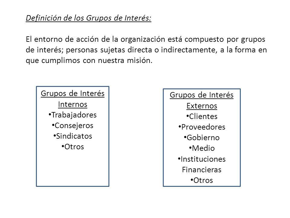 Definición de los Grupos de Interés: El entorno de acción de la organización está compuesto por grupos de interés; personas sujetas directa o indirect