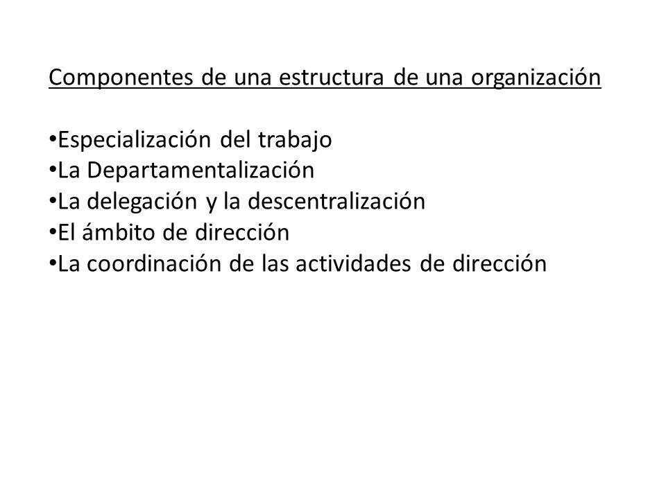 Componentes de una estructura de una organización Especialización del trabajo La Departamentalización La delegación y la descentralización El ámbito d