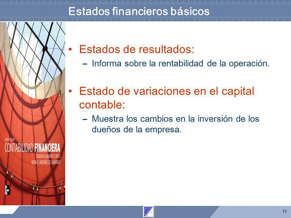 11 Estados financieros básicos Estados de resultados: –Informa sobre la rentabilidad de la operación. Estado de variaciones en el capital contable: –M