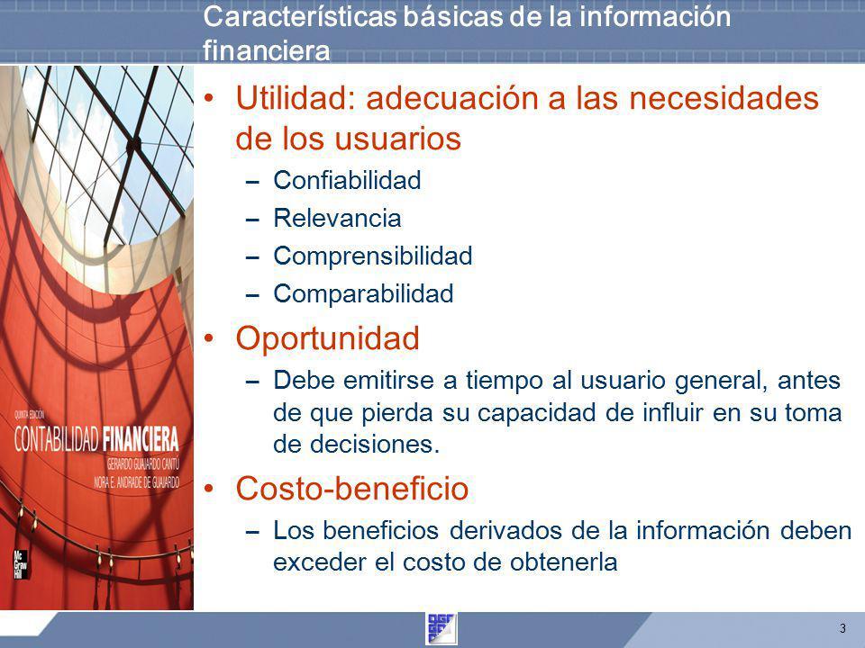 3 Características básicas de la información financiera Utilidad: adecuación a las necesidades de los usuarios –Confiabilidad –Relevancia –Comprensibil