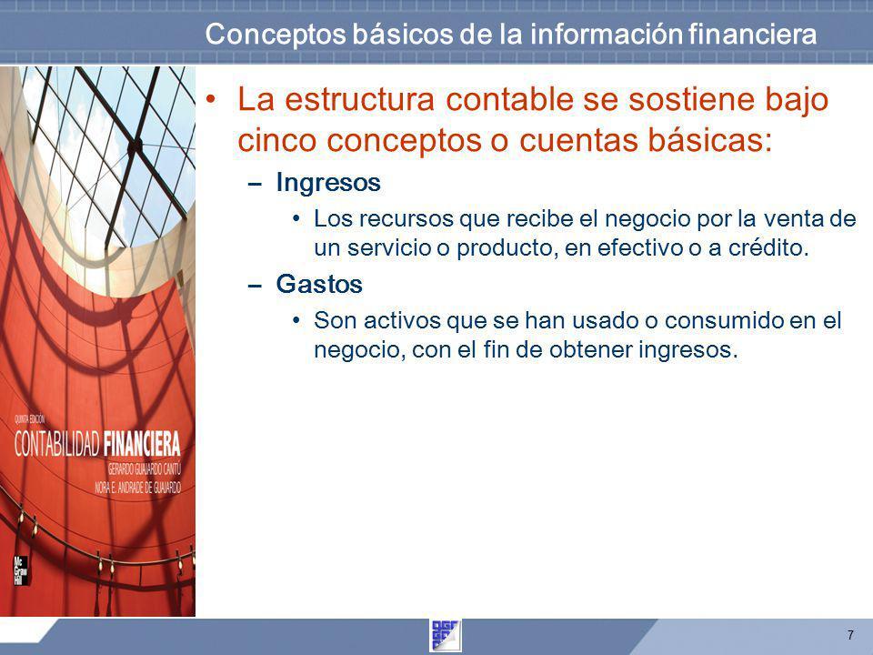 7 Conceptos básicos de la información financiera La estructura contable se sostiene bajo cinco conceptos o cuentas básicas: –Ingresos Los recursos que