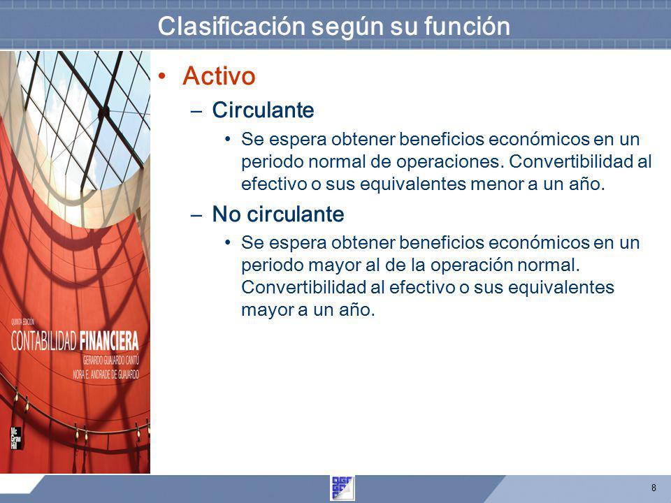 8 Clasificación según su función Activo –Circulante Se espera obtener beneficios económicos en un periodo normal de operaciones. Convertibilidad al ef