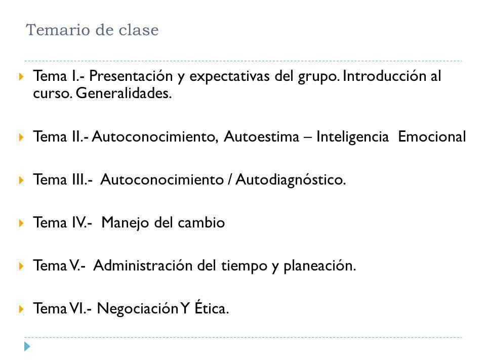 Temario de clase Tema I.- Presentación y expectativas del grupo. Introducción al curso. Generalidades. Tema II.- Autoconocimiento, Autoestima – Inteli