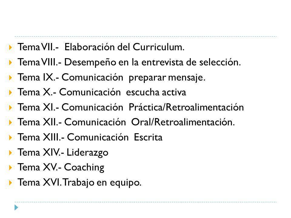 Tema VII.- Elaboración del Curriculum. Tema VIII.- Desempeño en la entrevista de selección. Tema IX.- Comunicación preparar mensaje. Tema X.- Comunica