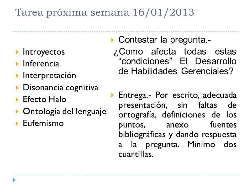Tarea próxima semana 16/01/2013 Introyectos Inferencia Interpretación Disonancia cognitiva Efecto Halo Ontología del lenguaje Eufemismo Contestar la p