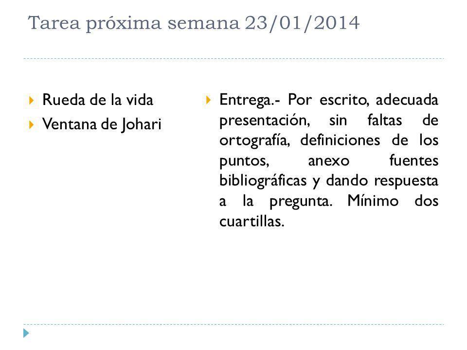 Tarea próxima semana 23/01/2014 Rueda de la vida Ventana de Johari Entrega.- Por escrito, adecuada presentación, sin faltas de ortografía, definicione