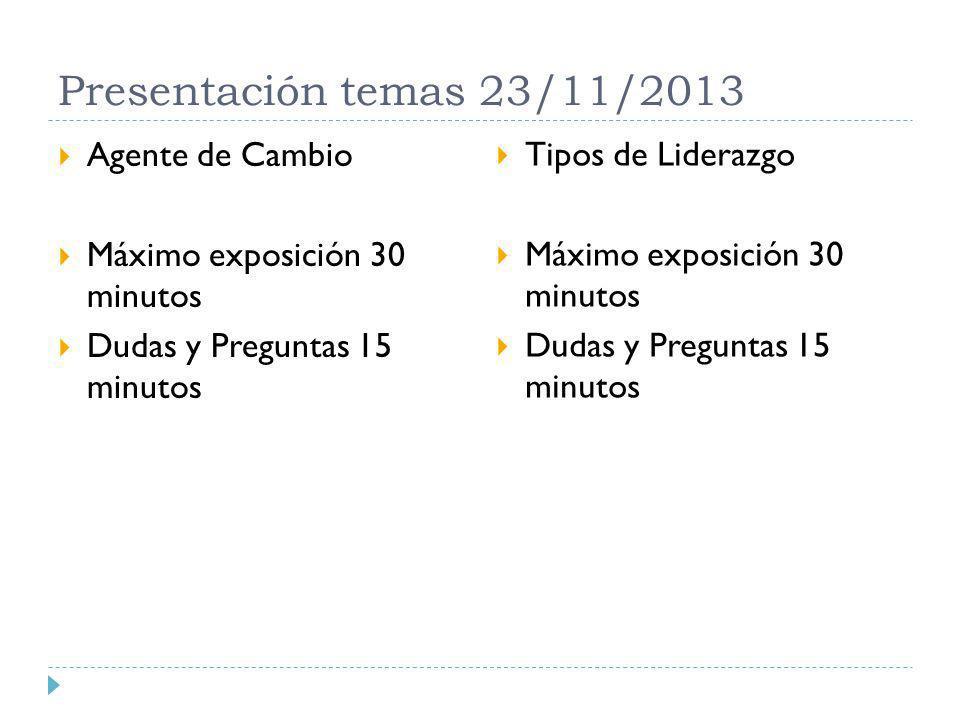 Presentación temas 23/11/2013 Agente de Cambio Máximo exposición 30 minutos Dudas y Preguntas 15 minutos Tipos de Liderazgo Máximo exposición 30 minut