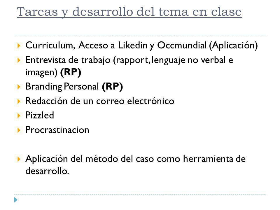 Tareas y desarrollo del tema en clase Curriculum, Acceso a Likedin y Occmundial (Aplicación) Entrevista de trabajo (rapport, lenguaje no verbal e imag