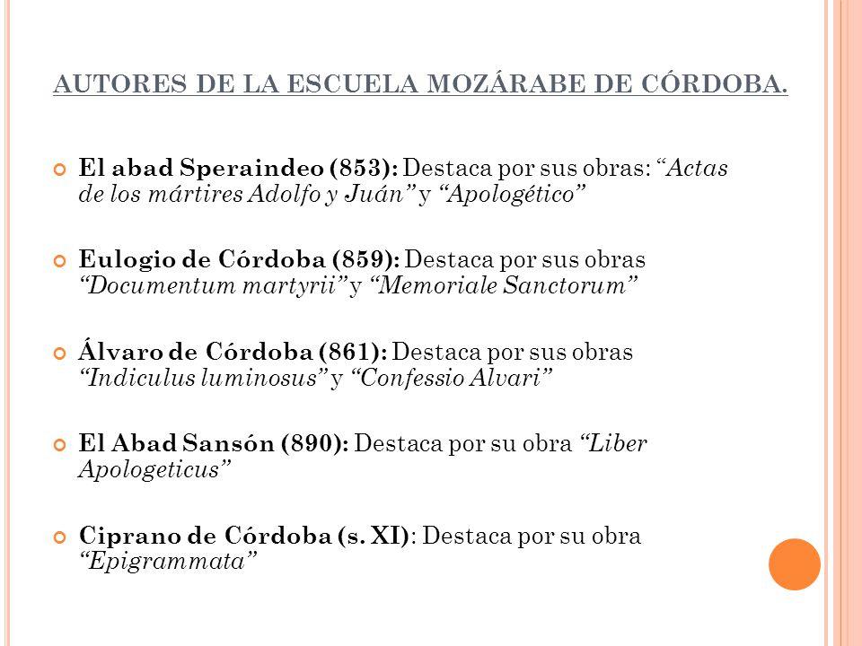 AUTORES DE LA ESCUELA MOZÁRABE DE CÓRDOBA.