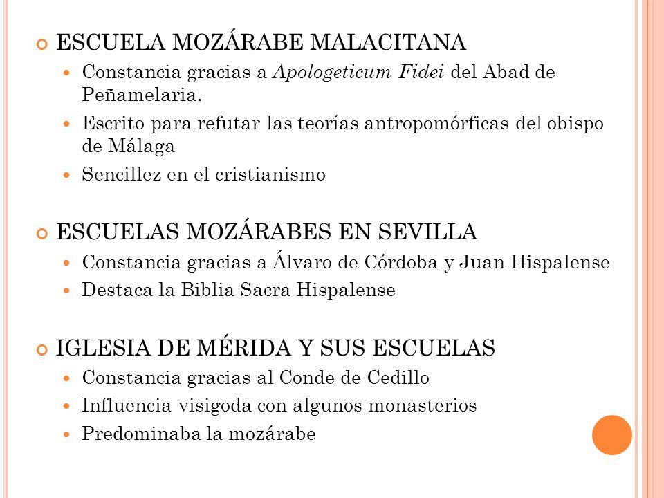 ESCUELA MOZÁRABE MALACITANA Constancia gracias a A pologeticum Fidei del Abad de Peñamelaria.