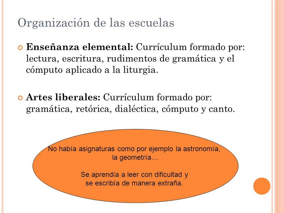 Organización de las escuelas Enseñanza elemental: Currículum formado por: lectura, escritura, rudimentos de gramática y el cómputo aplicado a la liturgia.