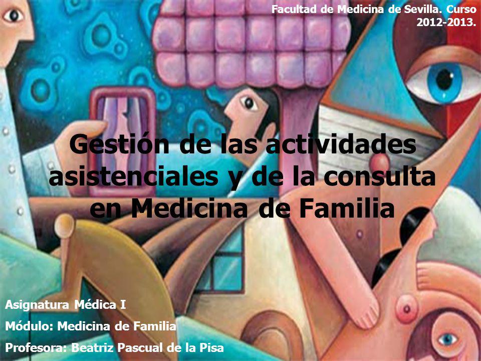 Gestión de las actividades asistenciales y de la consulta en Medicina de Familia Asignatura Médica I Módulo: Medicina de Familia Profesora: Beatriz Pa