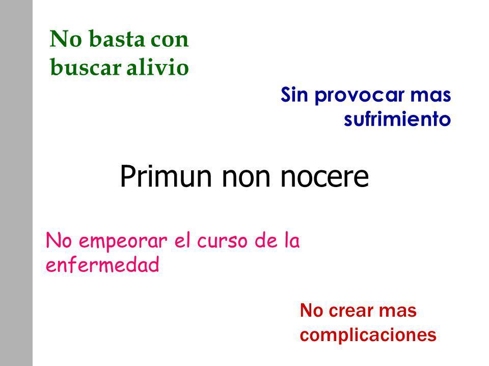 Primun non nocere No basta con buscar alivio No crear mas complicaciones Sin provocar mas sufrimiento No empeorar el curso de la enfermedad