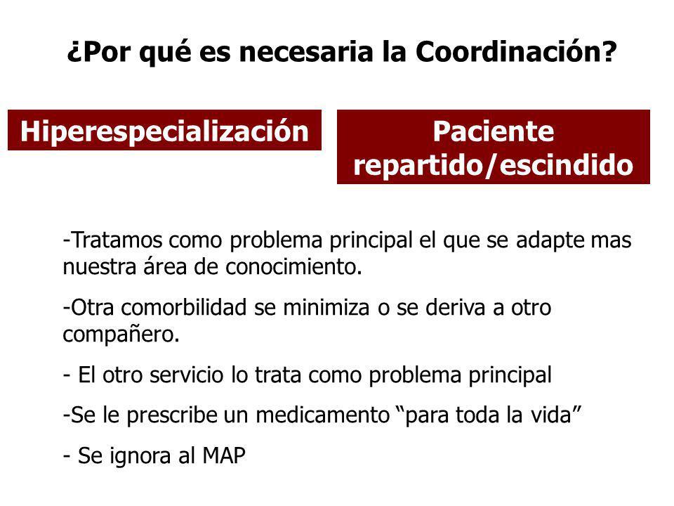 ¿Por qué es necesaria la Coordinación? Paciente repartido/escindido -Tratamos como problema principal el que se adapte mas nuestra área de conocimient