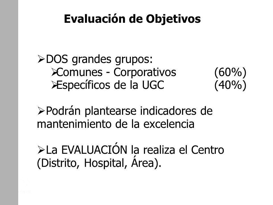 DOS grandes grupos: Comunes - Corporativos (60%) Específicos de la UGC (40%) Podrán plantearse indicadores de mantenimiento de la excelencia La EVALUA