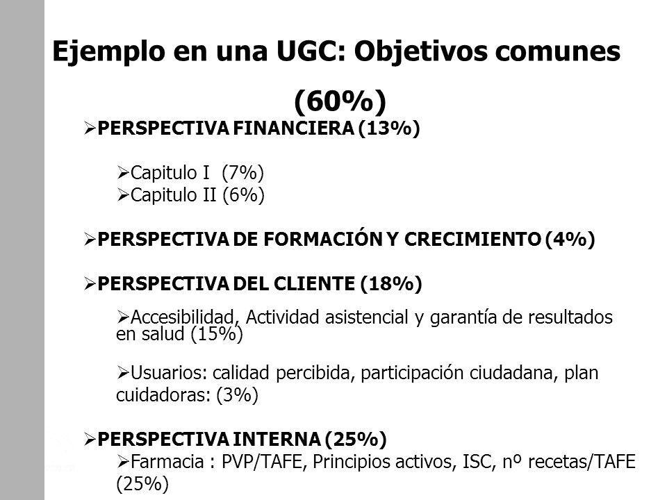 UGC DE CAMAS. DISTRITO DE AP ALJARAFE. SEVILLA Ejemplo en una UGC: Objetivos comunes (60%) PERSPECTIVA FINANCIERA (13%) Capitulo I (7%) Capitulo II (6