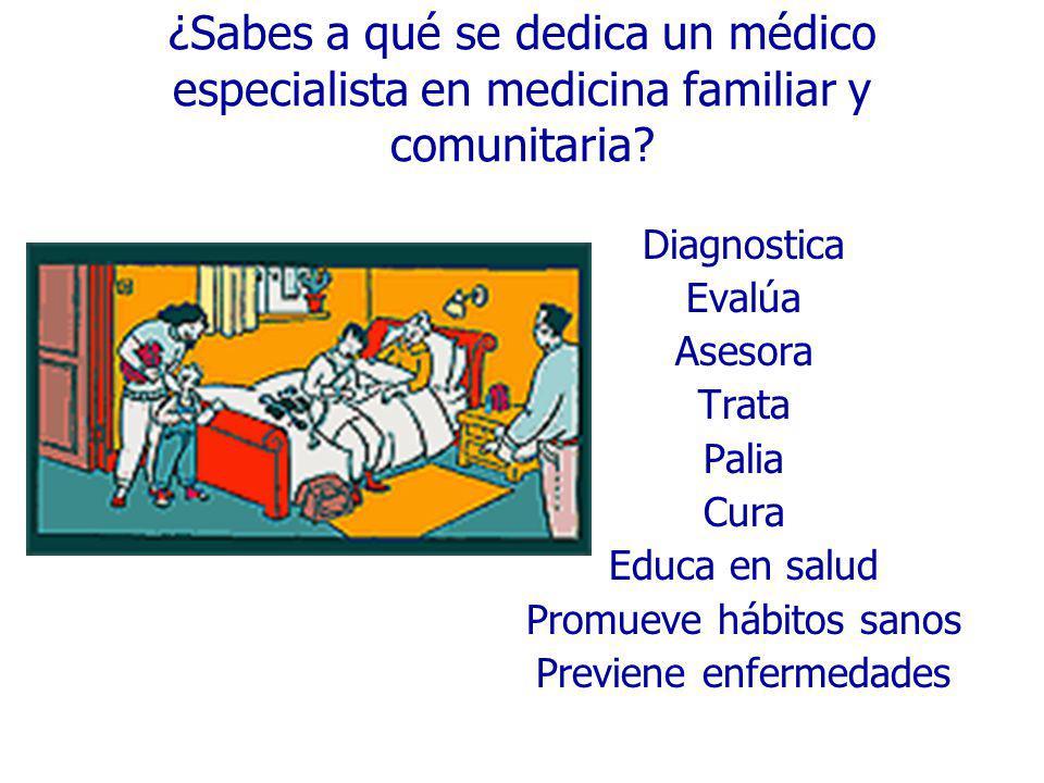 ¿Sabes a qué se dedica un médico especialista en medicina familiar y comunitaria? Diagnostica Evalúa Asesora Trata Palia Cura Educa en salud Promueve