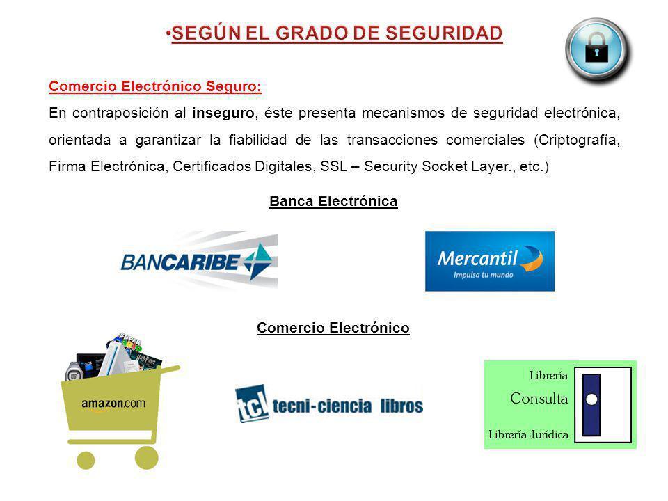 Comercio Electrónico Seguro: En contraposición al inseguro, éste presenta mecanismos de seguridad electrónica, orientada a garantizar la fiabilidad de