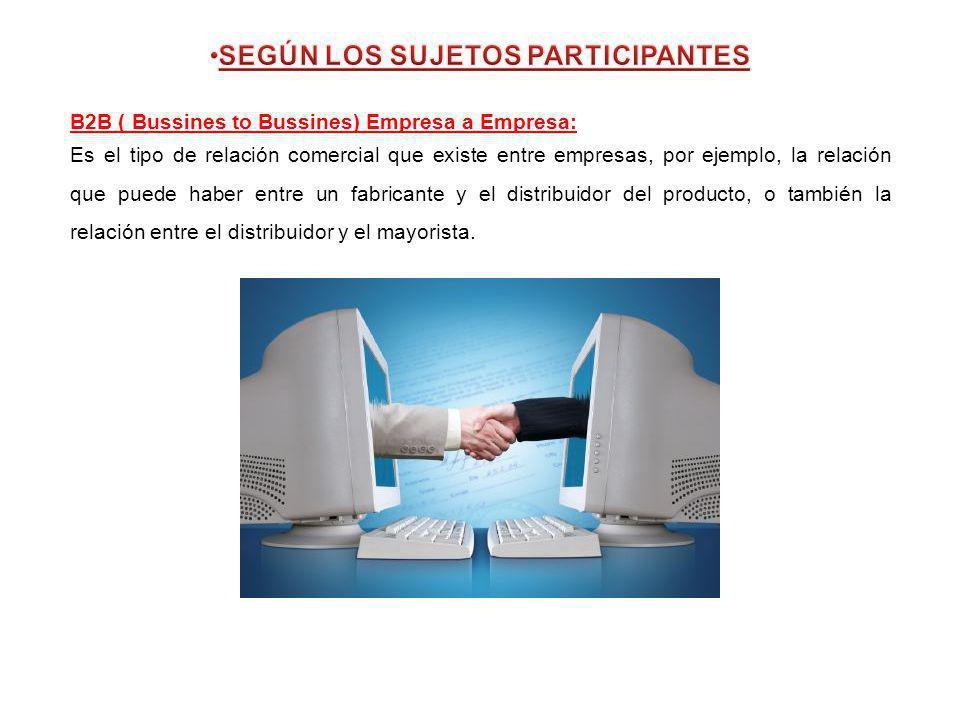 B2B ( Bussines to Bussines) Empresa a Empresa: Es el tipo de relación comercial que existe entre empresas, por ejemplo, la relación que puede haber en