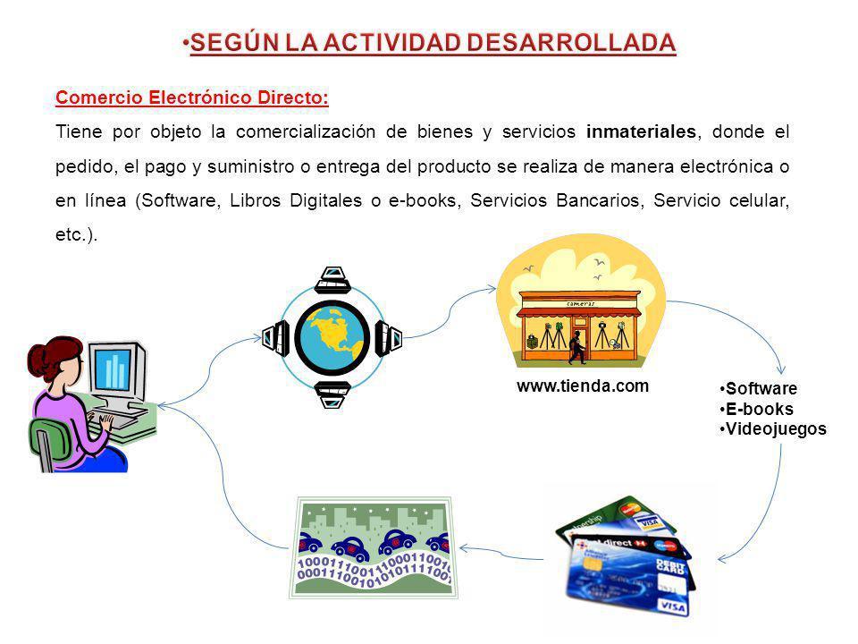 Comercio Electrónico Directo: Tiene por objeto la comercialización de bienes y servicios inmateriales, donde el pedido, el pago y suministro o entrega