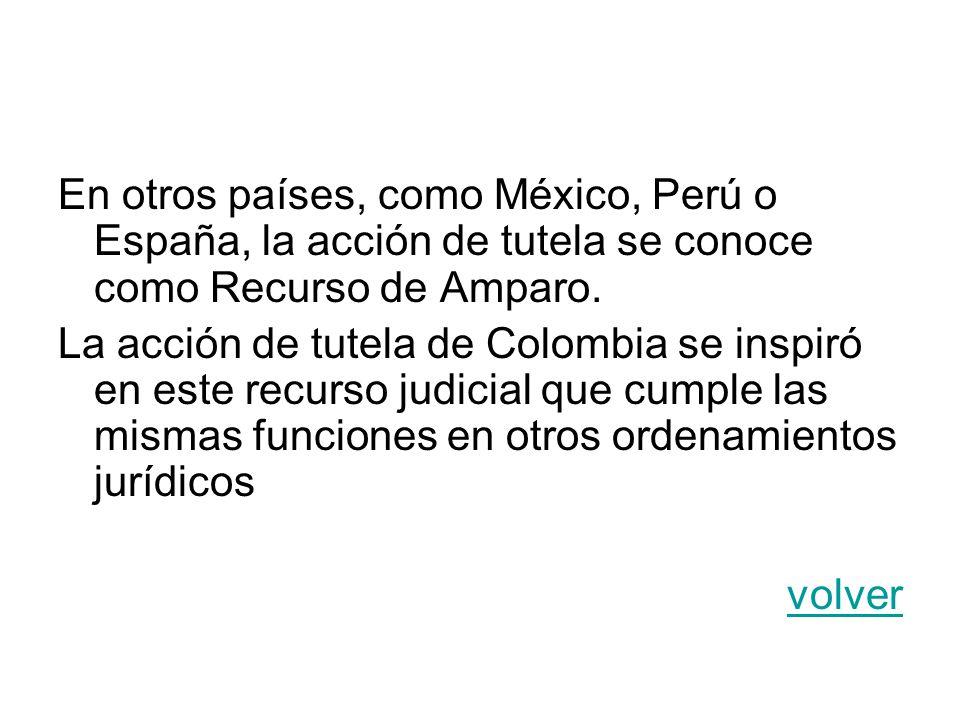 En otros países, como México, Perú o España, la acción de tutela se conoce como Recurso de Amparo. La acción de tutela de Colombia se inspiró en este