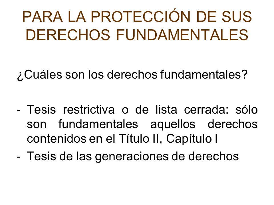 PARA LA PROTECCIÓN DE SUS DERECHOS FUNDAMENTALES ¿Cuáles son los derechos fundamentales? -Tesis restrictiva o de lista cerrada: sólo son fundamentales