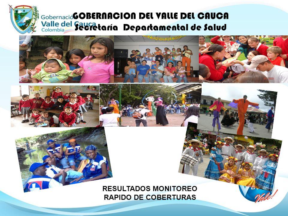 GOBERNACION DEL VALLE DEL CAUCA Secretaría Departamental de Salud RESULTADOS MONITOREO RAPIDO DE COBERTURAS