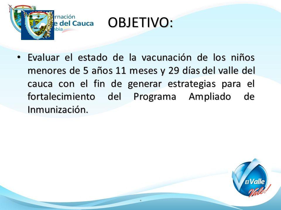 OBJETIVO: Evaluar el estado de la vacunación de los niños menores de 5 años 11 meses y 29 días del valle del cauca con el fin de generar estrategias p