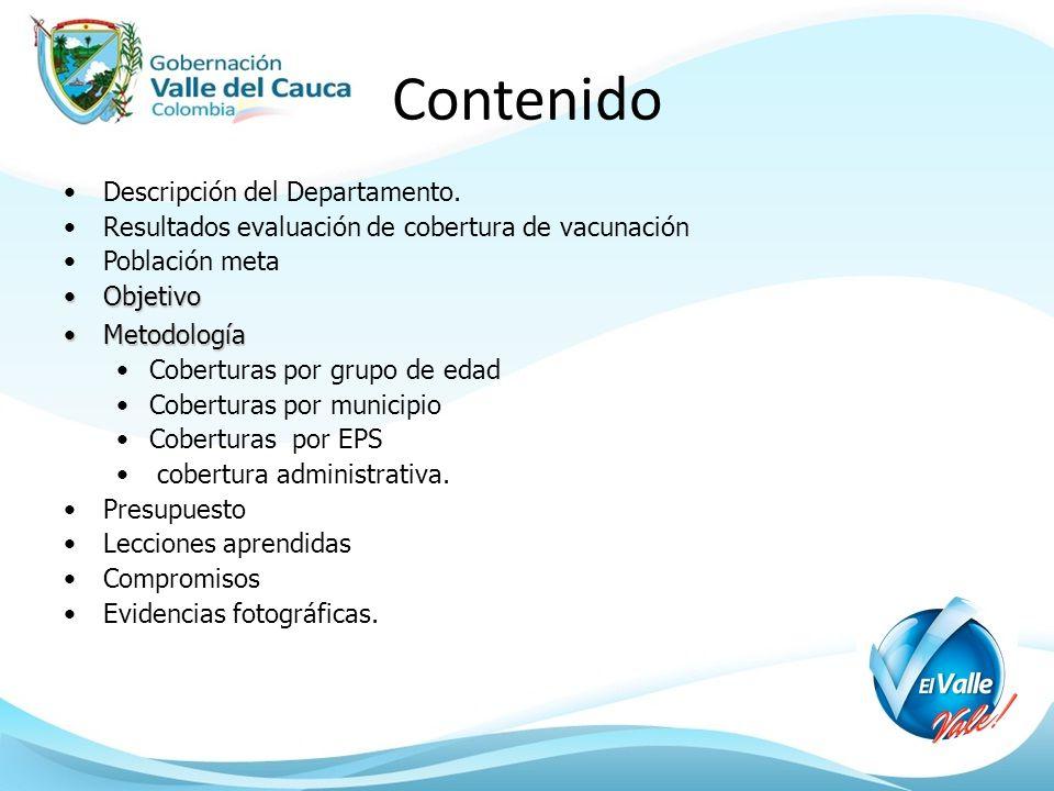Contenido Descripción del Departamento. Resultados evaluación de cobertura de vacunación Población meta ObjetivoObjetivo MetodologíaMetodología Cobert