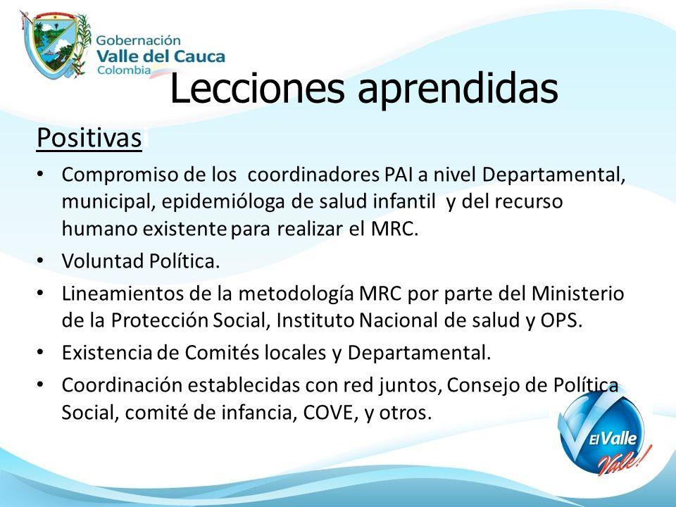Lecciones aprendidas Positivasi Compromiso de los coordinadores PAI a nivel Departamental, municipal, epidemióloga de salud infantil y del recurso humano existente para realizar el MRC.