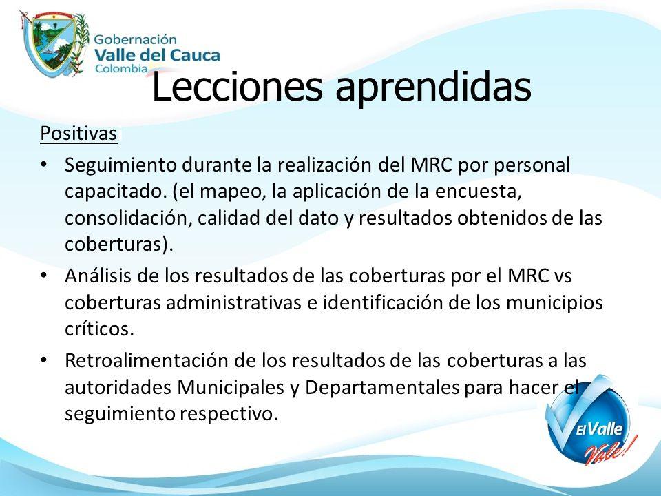 Lecciones aprendidas Positivasi Seguimiento durante la realización del MRC por personal capacitado. (el mapeo, la aplicación de la encuesta, consolida