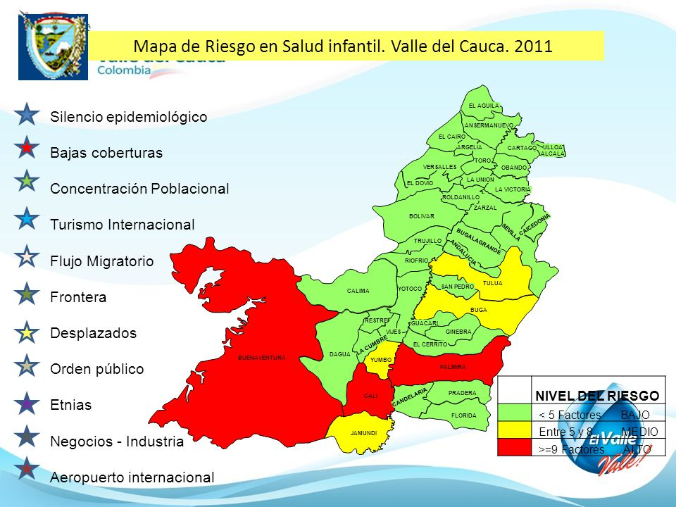 Mapa de Riesgo en Salud infantil. Valle del Cauca. 2011 BUENAVENTURA VERSALLES TORO LA UNION EL CAIRO ANSERMANUEVO ARGELIA EL AGUILA OBANDO LA VICTORI