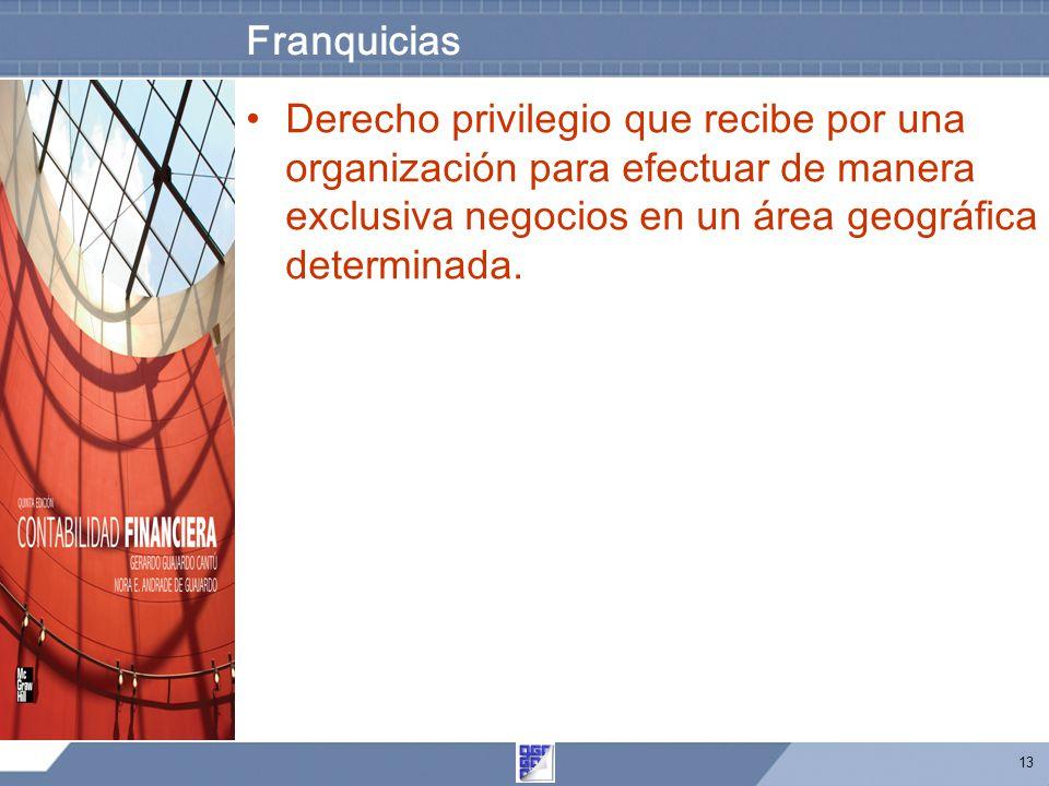 13 Franquicias Derecho privilegio que recibe por una organización para efectuar de manera exclusiva negocios en un área geográfica determinada.