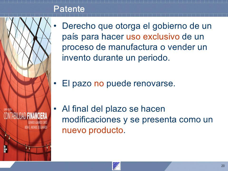 20 Patente Derecho que otorga el gobierno de un país para hacer uso exclusivo de un proceso de manufactura o vender un invento durante un periodo.