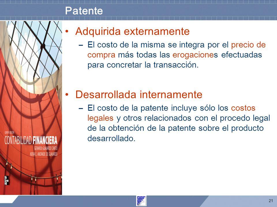 21 Patente Adquirida externamente –El costo de la misma se integra por el precio de compra más todas las erogaciones efectuadas para concretar la transacción.