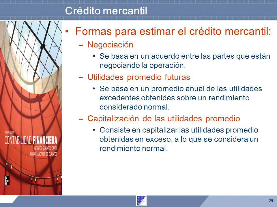 25 Crédito mercantil Formas para estimar el crédito mercantil: –Negociación Se basa en un acuerdo entre las partes que están negociando la operación.