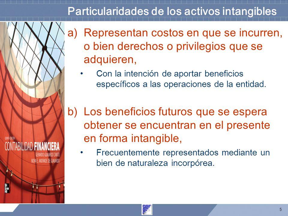 5 Particularidades de los activos intangibles a)Representan costos en que se incurren, o bien derechos o privilegios que se adquieren, Con la intención de aportar beneficios específicos a las operaciones de la entidad.