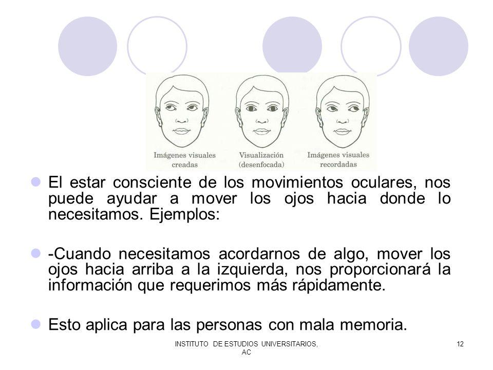 INSTITUTO DE ESTUDIOS UNIVERSITARIOS, AC 12 El estar consciente de los movimientos oculares, nos puede ayudar a mover los ojos hacia donde lo necesita