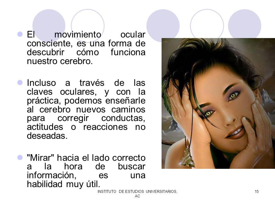 INSTITUTO DE ESTUDIOS UNIVERSITARIOS, AC 15 El movimiento ocular consciente, es una forma de descubrir cómo funciona nuestro cerebro. Incluso a través