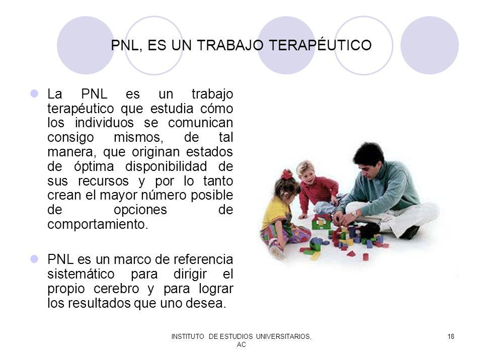 INSTITUTO DE ESTUDIOS UNIVERSITARIOS, AC 18 PNL, ES UN TRABAJO TERAPÉUTICO La PNL es un trabajo terapéutico que estudia cómo los individuos se comunic