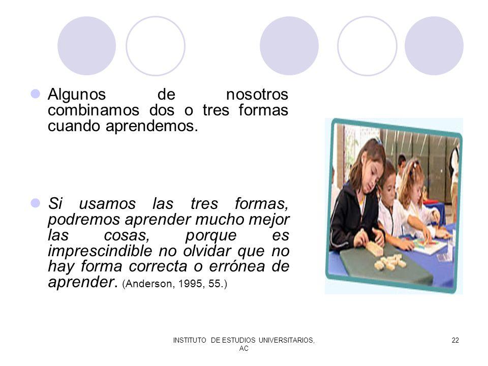 INSTITUTO DE ESTUDIOS UNIVERSITARIOS, AC 22 Algunos de nosotros combinamos dos o tres formas cuando aprendemos. Si usamos las tres formas, podremos ap