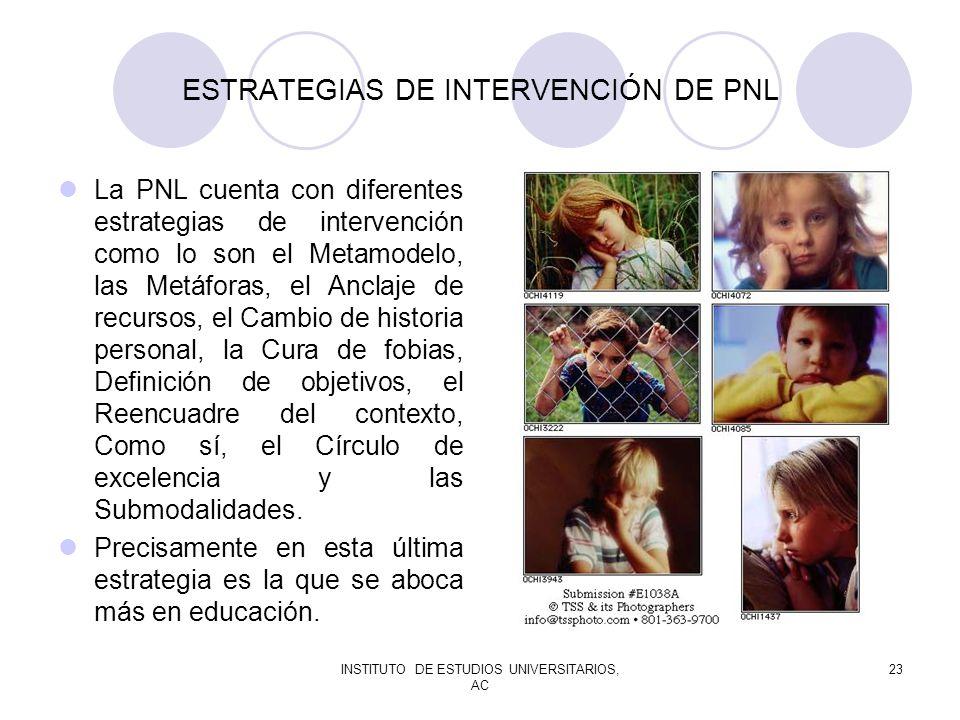 INSTITUTO DE ESTUDIOS UNIVERSITARIOS, AC 23 ESTRATEGIAS DE INTERVENCIÓN DE PNL La PNL cuenta con diferentes estrategias de intervención como lo son el